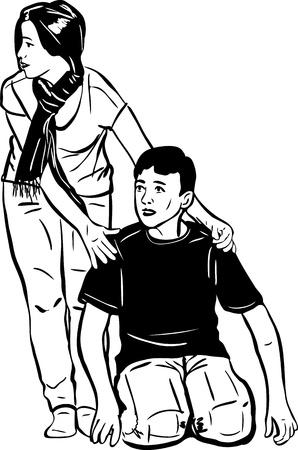 blackly:  sketch a beautiful girl hugs fellow