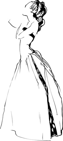 a sketch of beautiful girl is in a long dress