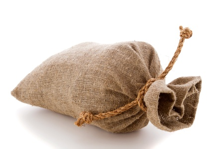image of burlap sack the tied