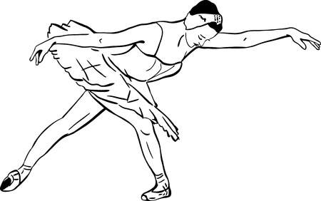a sketch of girls ballerina standing in a pose