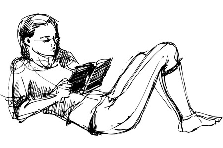 woman looking down: a sketch of a beautiful girl reading a book Illustration