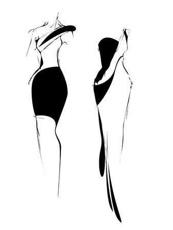croquis a mano alzada una forma en blanco y negro