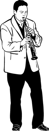 sketch of a musician playing the saxophone soprano Vector