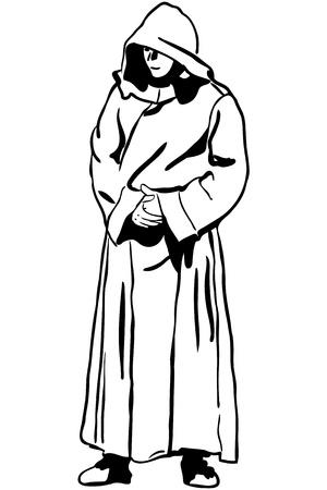 스님의 후드에서 남자의 스케치