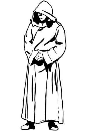 robe: sketch of a man in monk s hood