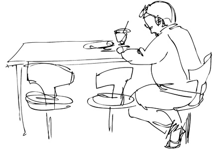 has: being fellow at a table on a chair in a cafe
