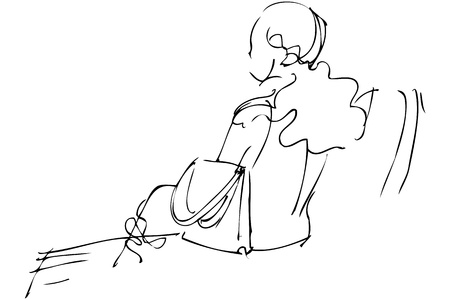 blackly: sketch girl a blonde sits with a bag