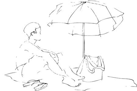 cowards:  a boy sits on a beach under an umbrella Stock Photo