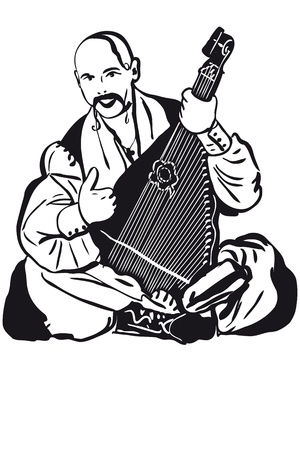a Cossack Playing A Musical Instrument Kobza Illustration