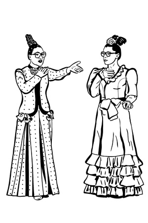 alarmed: a sketch retro young woman spectacled and long dress Illustration