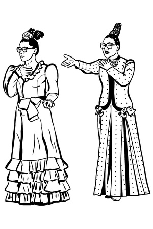 spectacled: a sketch retro young woman spectacled and long dress Illustration