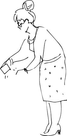 a image of a woman with a bank card  イラスト・ベクター素材