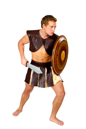 young male warrior with a shield photo