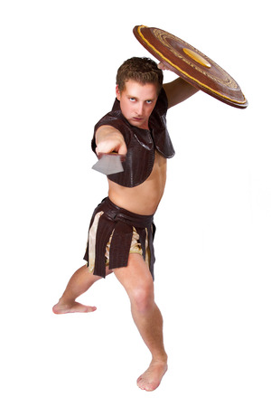 a young male warrior with a shield photo