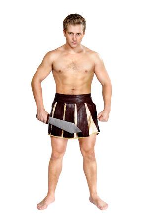 soldati romani: un giovane guerriero di sesso maschile con uno scudo