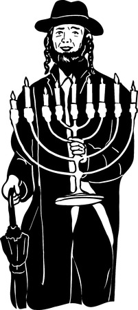 a Jewish menorah in hat with hands Illustration