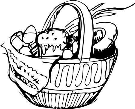a Preview easter basket and eggs and cake Vector