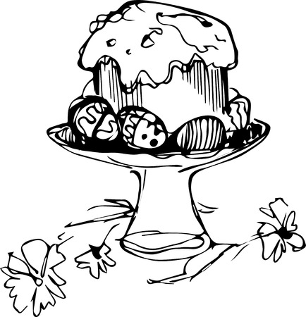 easter cake: a Easter cake with eggs and flowers in a vase