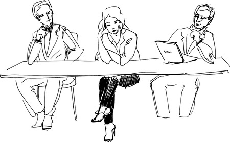 a two guys and a girl at the table in the office  Vector