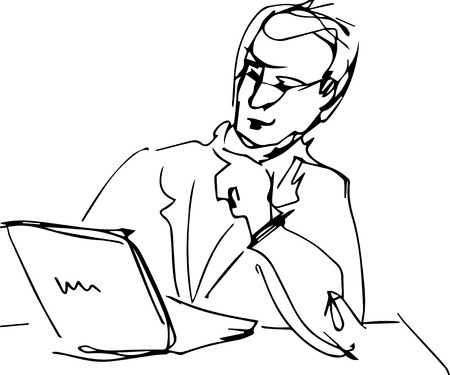 a man sitting at table with laptop reading  Vector