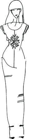 abito elegante: Illustrazione vettoriale di una bella ragazza sottile in un abito elegante Vettoriali