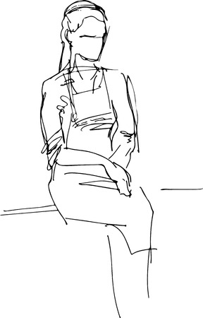 Vector girl in apron sits on the windowsill  Illustration