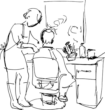armrests: vector young man in the barber shop at the master
