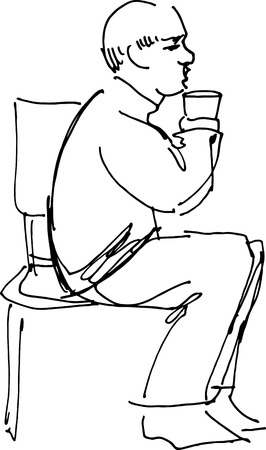 black and white sketch vector grandfather drinking from a glass sitting on a chair  Vector