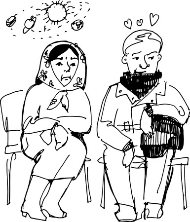 black and white sketch vector grandparents sit on chairs Vector
