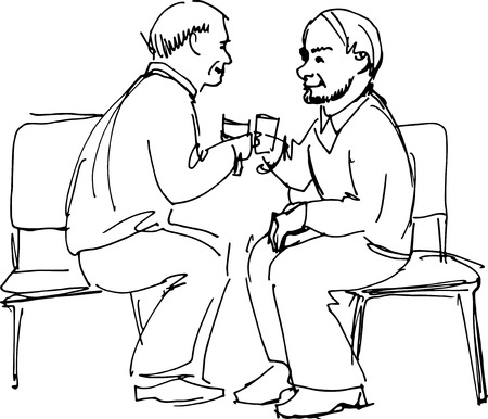 black and white sketch vector two grandfathers drink sitting on chairs  Vector