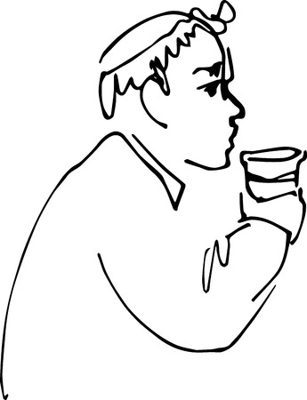 cross legged: black and white sketch vector bald man drinking from a cup