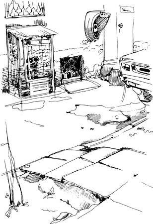 black and white sketch vector urban alley with payphones  Vector