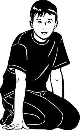 black and white sketch vector boy knelt down