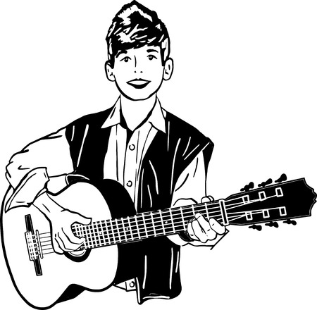 boy playing guitar: black and white sketch of a boy playing a guitar