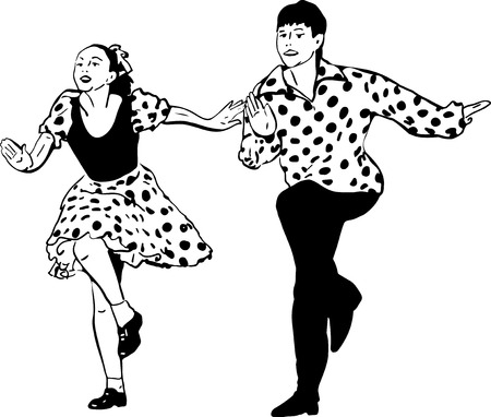 black and white sketch of a guy with a girl dancing rock and roll Vector