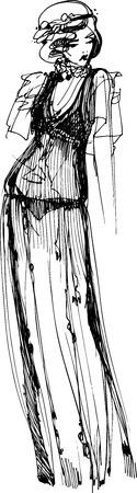 transparent dress: black and white sketch of a beautiful girl transparent dress