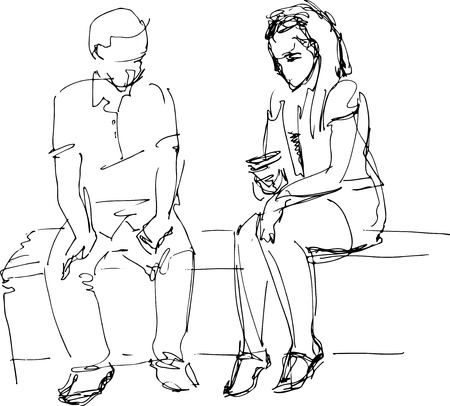 a black and white sketch of man and woman on a bench b