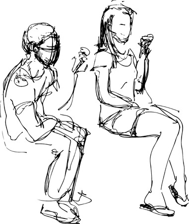 eating ice cream: black and white sketch of a guy and a girl eating ice cream