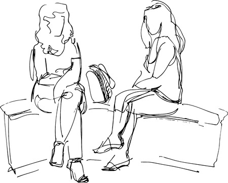 women talking: black and white sketch of two friends sitting on bench