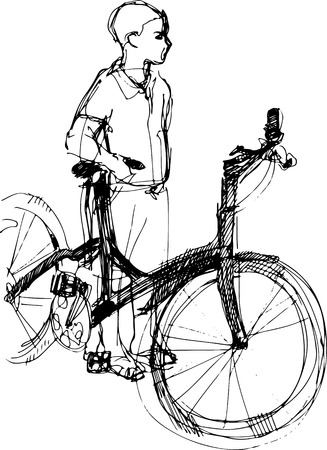 one wheel bike: black and white sketch of a boy standing with bicycle