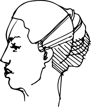 black and white sketch of the profile of a young woman Vector