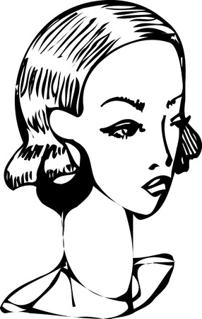 black and white sketch of a girl with beautiful earrings Vector