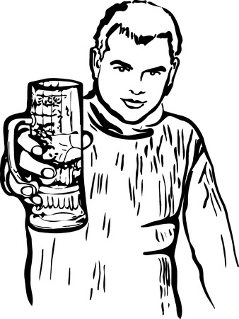 black and white sketch of a guy with a glass of beer Ilustrace