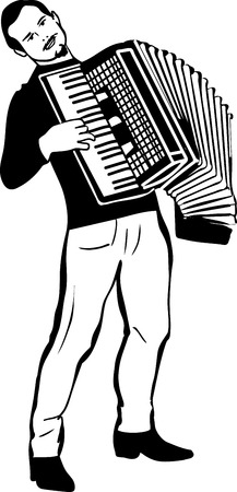 traits: black and white sketch of a man playing the accordion