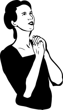 Schwarz-Weiß-Skizze eines Mädchens beten Standard-Bild - 33241412