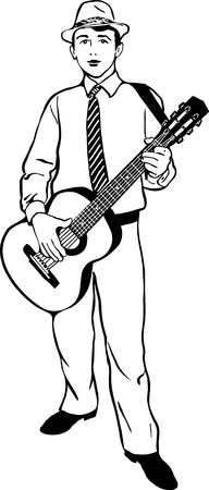 black and white sketch of a young man in a hat playing a guitar Vector