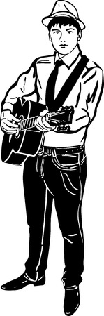 black and white sketch of a young man in a hat playing a guitars Vector