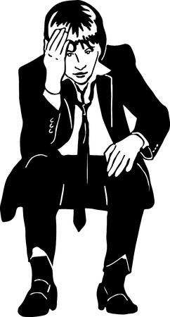 grieved: black and white sketch of a man in a suit and tie grieved Illustration