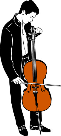 cellist: sketch of a young male musician tuning cello