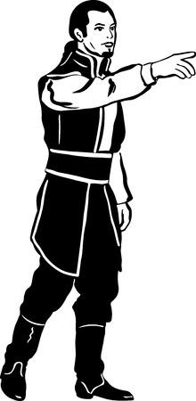 nobleman: schizzo in bianco e nero degli uomini in costume medievale